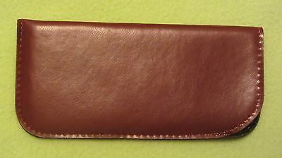 Glasses case, soft spectacle, pouch, leather look, medium brown medium size (J2)