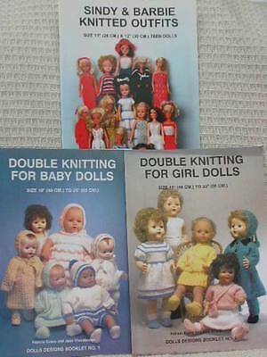 3 Doll Knitting Booklets For Baby, Girl And Sindy Dolls