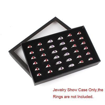 Fine 36 Slots Ring Storage Ear Display Box Jewelry Organizer Holder Show Case LQ