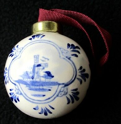 Vintage Delft Holland Ball Ornament Hand Painted Windmill Blue & White 2 1/4""