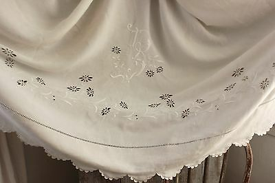 Vintage French linen Sheet  rare B monogram cut work cutwork RARE 92 X122