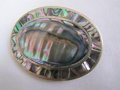 Sterling silver and abalone brooch