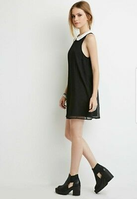 Forever 21 Peter Pan Collar Black Mini Dress Size Small New W