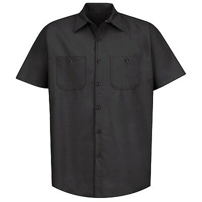 Red Kap Mens Short Sleeve Industrial Work Shirt - Black