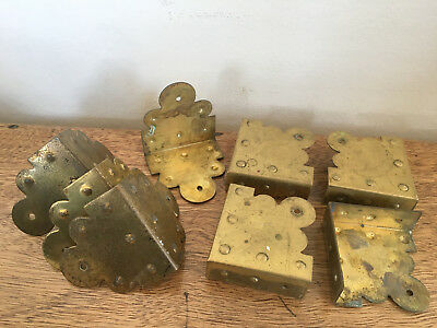 Lot of 8 Brass Chest Steamer Trunk Corners and Side Plates Decorative Vintage