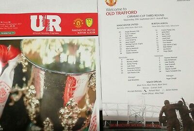 Man Manchester United vs Burton Albion 2017/18 Carabao Cup Programme Teamsheet