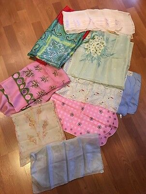 Lot Of 8 Vintage  Scarves Silk/nylon Assorted Sizes Hand Rolled Japan