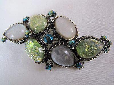Vintage glass and crystals brooch