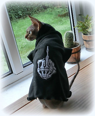 MIDDLE FINGER Sphynx cat clothes, sweater for a cat, pet clothes, HOTSPHYNX