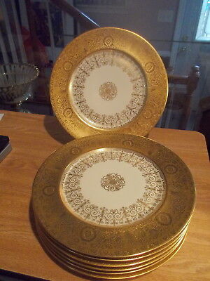 """7 H&C Heinrich 11"""" Dinner Plates HC133 - Gold Encrusted Band w/Gold Accents"""