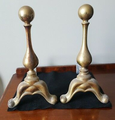 Vintage Brass Fireplace Andirons Fire Dogs Cannonball Firedog Logs Hearth MCM