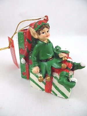 Nwt! Christmas Elf/ Pixie Sitting Atop Stack Of Christmas Presents Xmas Ornament