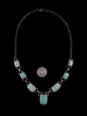 Navajo Necklace - Sterling Silver and Turquoise - Raymond Beard