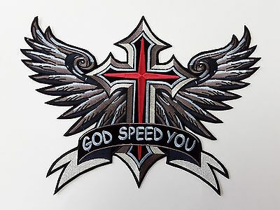 """1 pc GOD SPEED YOU/CROSS/WING BIKER EMB PATCH 12-3/4X9-1/4"""" SEW/RON ON"""