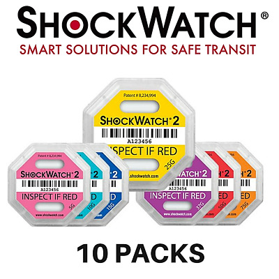 ShockWatch 2 Shipping Damage & Impact Indicator | 10 Packs