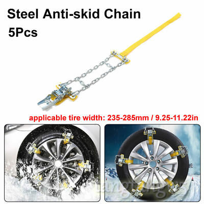 5Pcs Snow Tire Anti-skid Wheel Steel Chains Thickened Beef Tendon Car Vehicles