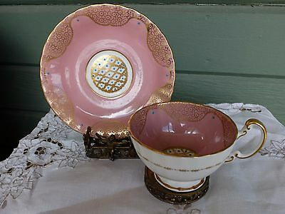 Vintage Deco Aynsley Pretty Pink w/ Blue Enamel Gold Gilding Tea Cup  Saucer