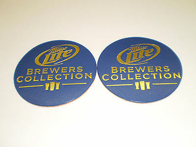 2 Miller Lite Brewers Collection Leather Coasters