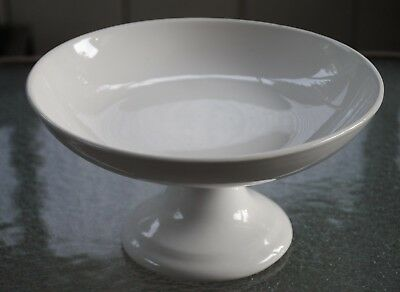 Vtg Antique K T & T White Stone China Ironstone Footed Bowl Compote X Large
