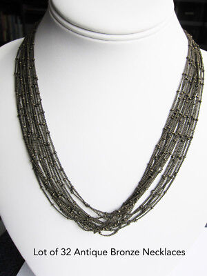 """Antique Bronze Vintage Style 24"""" Necklaces Satellite Style Bead Chain Lot of 32"""