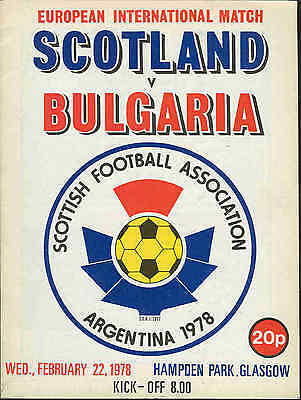 Scotland v Bulgaria 1978 - Football Programme