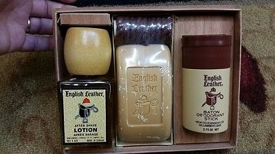 Vintage English Leather 4 oz After Shave Lotion Gift Set Made In Canada