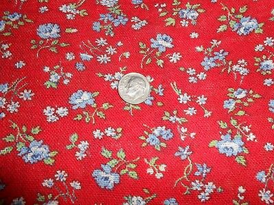 """Beauty Feedsack Vintage Fabric 36""""x44"""" Tiny blue & white flowers Red background"""