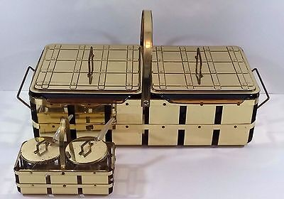 Vintage Mid-Century Modern Metal Basket Buffet Candle Warmer Server Fire King