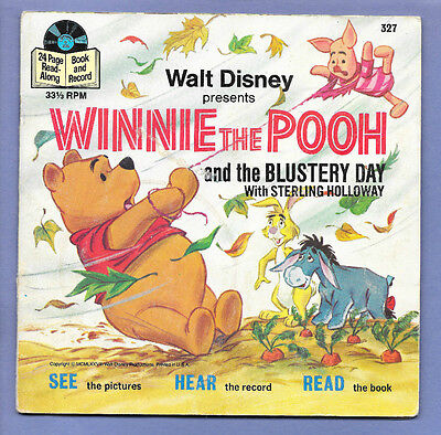 Disney 24-Page Read-Along Book & Record 33 1/3 Rpm Winnie Pooh The Blustery Day