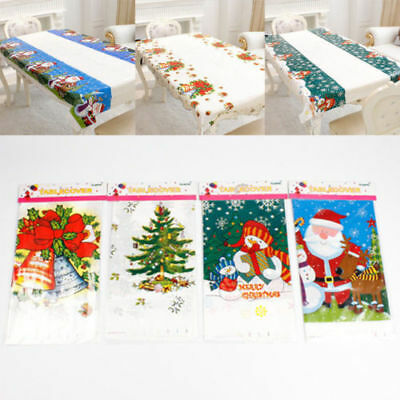 Christmas Disposable Table Cloth Cover Home Oblong Party Decor Xmas Tableware