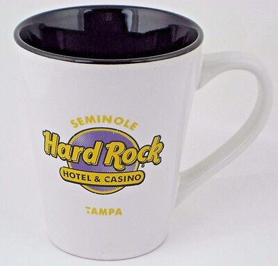 "Hard Rock Hotel Mug Tampa Florida Seminole Casino White Black 4.5"" Tall Cup"