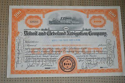 Vintage Detroit and Cleveland Navigation Company 100 Share Stock Certificate