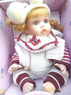 """Vintage Collectible Small Doll """" Santini """" Porcelain Full Boddy Original Box"""