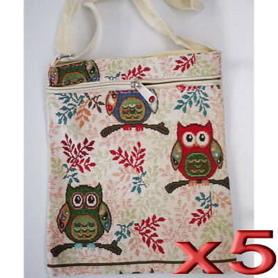 5pc Wholesale Owl Canvas Long Casual Crossbody Bags Women Girl Messenger Handbag