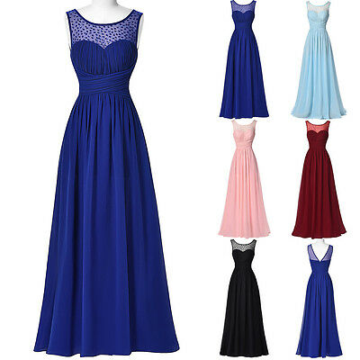 LONG MAXI WEDDING Bridesmaid Gown Formal Evening Cocktail Ball Party PROM Dress