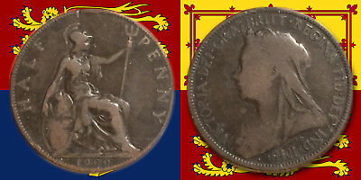 "UNITED KINGDOM:- Queen Victoria, ""Veil Head"" 1900, Half penny coin... ADP6048"