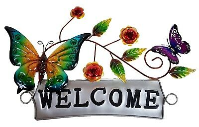 Butterfly Pair Metal Hanging Wall Art Welcome Sign Home Garden Sculpture *54 cm*