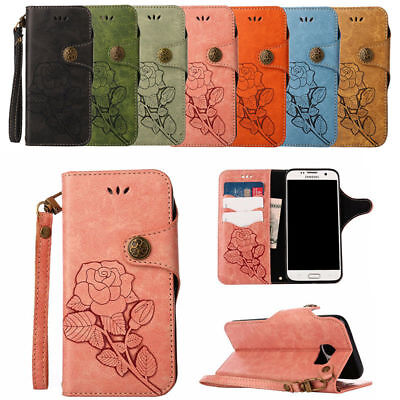 Retro Rose Magnetic Leather Stand Case Wallet Cover For Samsung Galaxy Phones