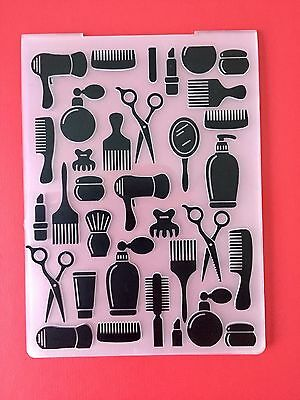 NEW• HAIRDRESSING EMBOSSING FOLDER Hair For Cuttlebug Or Sizzix