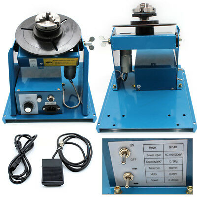 Rotary Light Duty Welding Positioner Turntable + 3-Jaw Lathe Chuck 2-10RPM 10KG