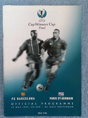 1997 - CUP WINNERS CUP FINAL PROGRAMME - BARCELONA v PARIS ST GERMAIN - V.G COND