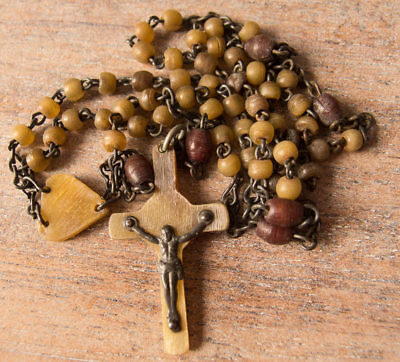 Vintage Antique Irish Horn Rosary Beads