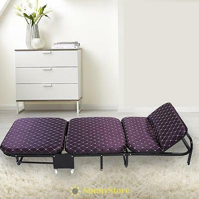 1.8M Folding Single Guest Bed with Mattress Compact Metal Frame Rollaway Visitor