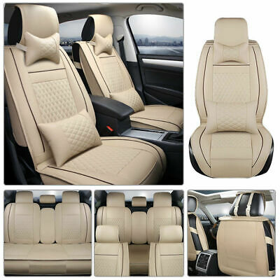 5-Seat Car Seat Cover Deluxe PU leather Full Set Front+Rear Cushion Pillow Beige