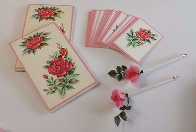 Vintage Bridge Pads, Tally Cards 2 Flower Pens Party Ensemble in Box