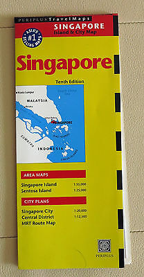 NEW Singapore Island and City Map Periplus 10th edition Travel maps 2009
