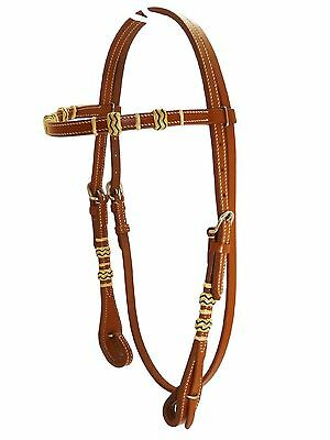 """Headpiece """" Ben """", Western Snaffle with Rawhide and Quick Relase, Cob"""