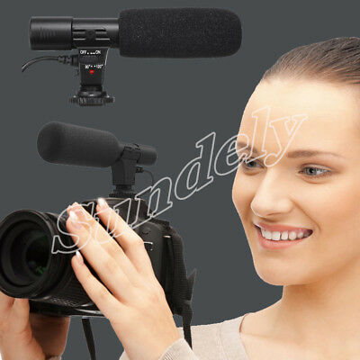 New External Stereo Microphone Mic For Canon Nikon DSLR Camera DV Camcorder - AU