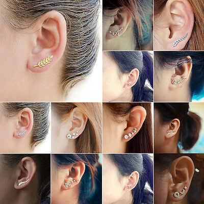 Fashion Crystal Ear Climbers Leaf Octopus Moon Cuffs Ear Crawlers Sweep Earrings