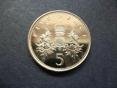 1988 Brilliant Uncirculated Five Pence Piece (Larger Type).1988 5P Coin